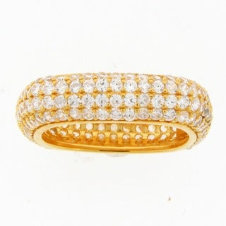 Meredith Leigh 18k Goldplated Sterling Silver Pave-set CZ Square Ring