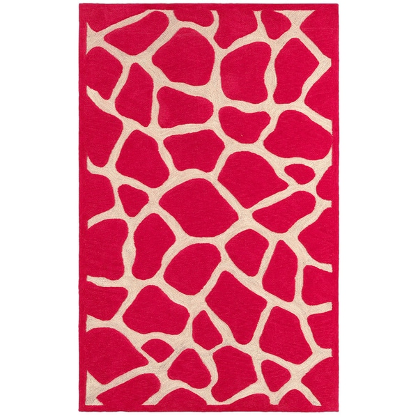 LNR Home Fashion Hot Pink Animal-print Rug (5'3 x 7'5)