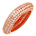 Meredith Leigh 18k Rose goldplated Sterling Silver Pave-set Cubic Zirconia Square Ring