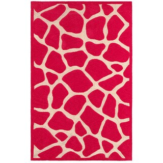 LNR Home Fashion Hot Pink Animal-print Rug (7'9 x 9'9)
