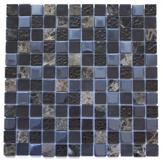 Brown Marble and Glass 11.75-inch Square Wall Tiles
