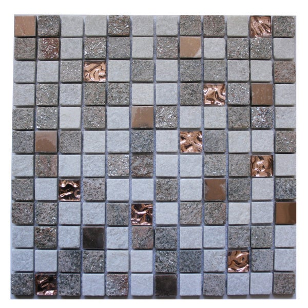 Mixed Stone Metal And Glass One Five Inch Square Wall Tiles