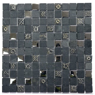 Grey Engraving Mosaic Stone 11.75-inch Square Wall Tiles