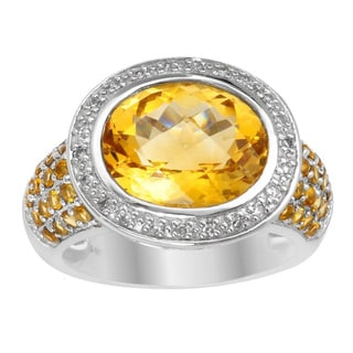 14k White Gold 1/10ct TDW Diamond and Citrine Ring (H-I, SI1-SI2)