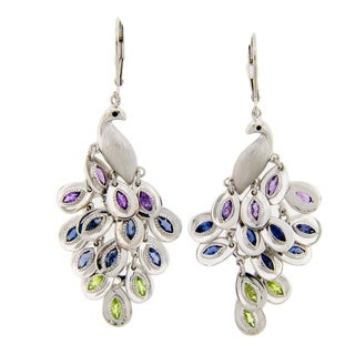 Meredith Leigh Sterling Silvre Multi-gemstone Peacock Earrings