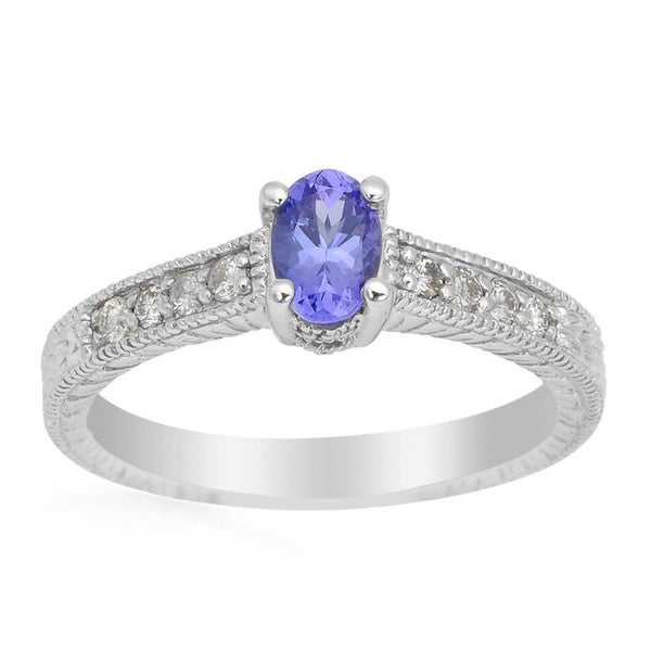 14k White Gold 1/6ct TDW Diamond and Tanzanite Ring (H-I, SI1-SI2)