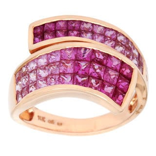 14k Rosegold Pink Sapphire Graduated Ring