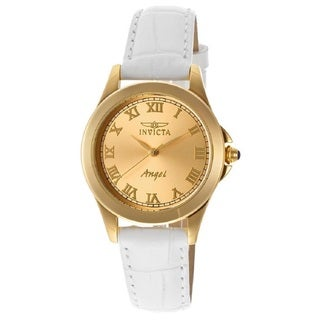 Invicta Women's 'Angel' 18k Yellow Gold-Plated Stainless Steel Quartz Watch