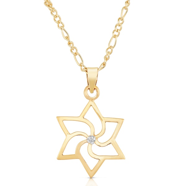 Classic 14k Gold Pinwheel Star of David Diamond stud Pendant Necklace