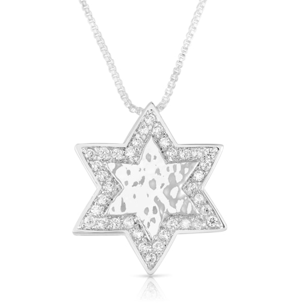 Sterling Silver Cubic Zirconia Star of David Pendant Necklace