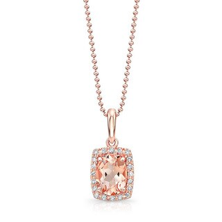 14k Rose Gold 1/10ct TDW White Diamond and Morganite Oval Pendant Necklace (J-K, I2-I3)