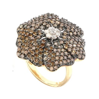 14k Yellow Gold 2ct TDW Brown and White Pave Diamond Flower Ring (H-I, I2-I3)