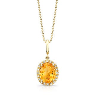 14k Yellow Gold 1/10ct TDW White Diamond and Halo Citrine Pendant Necklace (J-K, I2-I3)