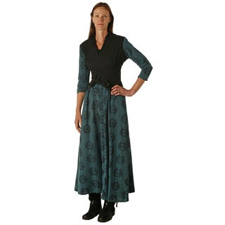 Women's Black and Teal Fish Print Dede Dress (Nepal)