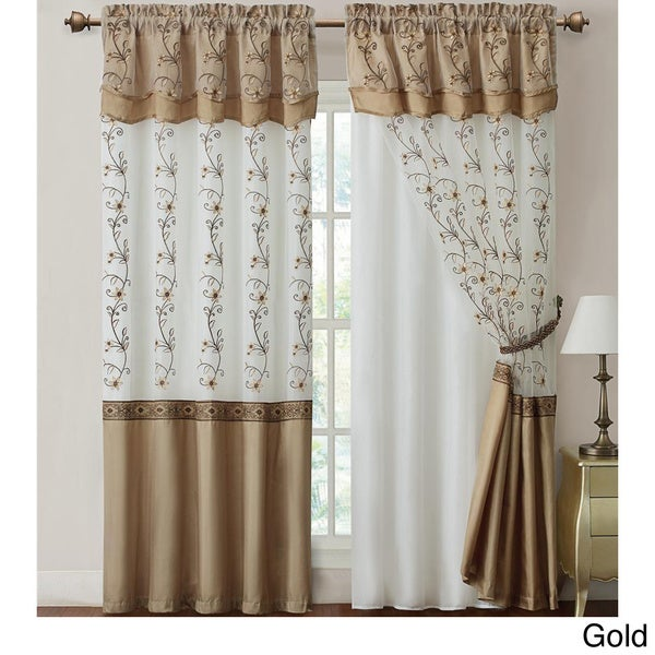 VCNY Daphne Embroidered 84 inch Curtain Panel with attached Valance ...