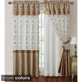 Daphne Embroidered 84 inch Curtain Panel with attached Valance