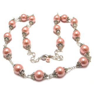 32-inch Pink Glass Pearl Wedding Jewelry Set