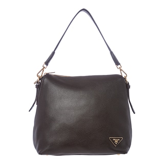 Prada 'Daino' Black Leather Hobo Bag