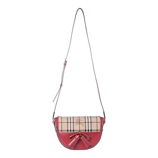 Burberry 'Maydown' Red Trim Small Haymarket Crossbody