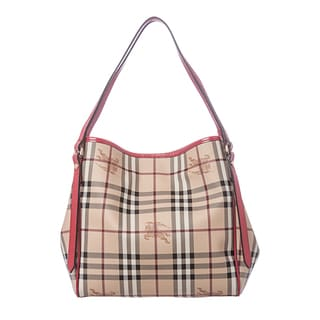 Burberry 'Canterbury' Small Haymarket and Red Patent Tote