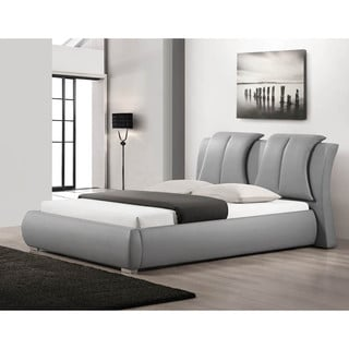 Malloy Gray Modern Bed with Upholstered Headboard - Queen Size