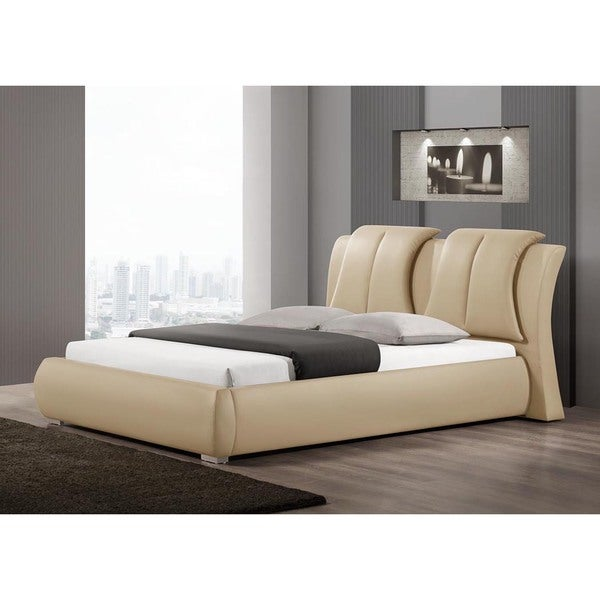Baxton Studio Malloy Warm Beige Modern Bed With Upholstered Headboard