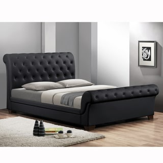 Baxton Studio Leighlin Black Modern Sleigh Bed with Upholstered Headboard - Queen Size