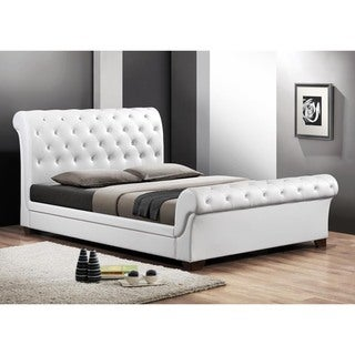 Baxton Studio Leighlin White Modern Sleigh Bed with Upholstered Headboard - Queen Size