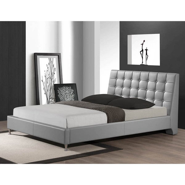 Baxton Studio Zeller Gray Modern Bed with Upholstered Headboard - Queen Size