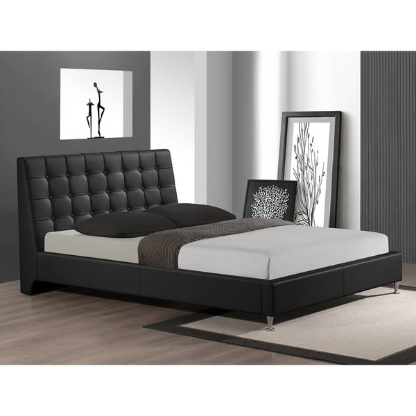 Baxton Studio Zeller Black Modern Bed with Upholstered Headboard - Queen Size