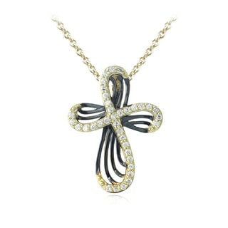 Icz Stonez 18k Gold over Silver Cubic Zirconia Ribbon Cross Necklace
