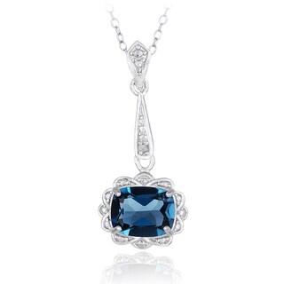 Glitzy Rocks Sterling Silver London Blue Topaz Drop Necklace