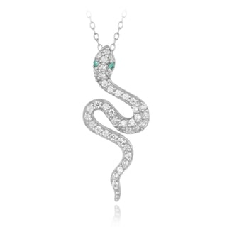 ICZ Stonez Sterling Silver Cubic Zirconia and Lab Created Green Quartz Snake Necklace
