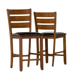 Dark Oak Wood Pub Chair with Leather Seat (Set of 2)