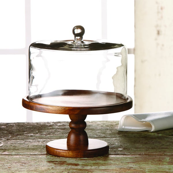 Madera Pedestal Plate with Glass Dome
