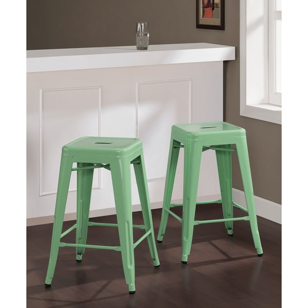 Tabouret 24 Inch Hint Of Mint Counter Stools Set Of 2