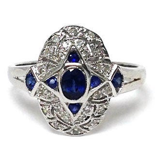 Neda Behnam Diamonds for a Cure 14k White Gold 1/10ct TDW Diamond and Blue Sapphire Vintage Inspi