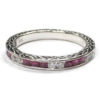 Neda Behnam Diamonds for a Cure 14k White Gold 1/5ct TDW Diamond and Ruby Ring (H-I, SI1-SI2)