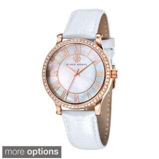 Klaus Kobec Women's 'Lily' Stainless Steel Leather Strap Watch
