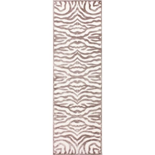 Zebra Rug Faux: NuLOOM Modern Zebra Faux Silk Brown Runner Rug (2'6 X 8