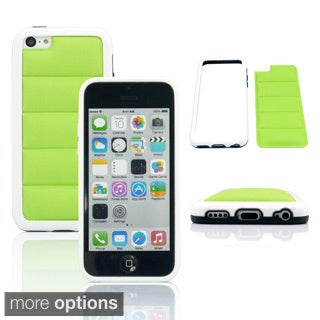 Gearonic PU Leather Pad Back Cover Hard PC Frame Case For iPhone 5C