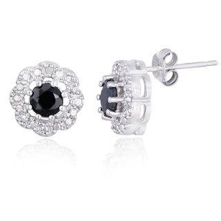 Glitzy Rocks Silvertone Sapphire and Diamond Accent Flower Stud Earrings