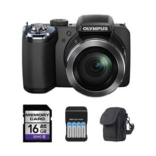 Olympus SP-820UZ iHS 14MP Black Digital Camera 16GB Bundle