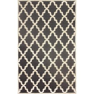 nuLOOM Moroccan Trellis Faux Silk Dark Grey Rug (9' x 12'7)