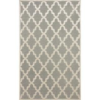 nuLOOM Moroccan Trellis Faux Silk Grey Rug (9' x 12'7)