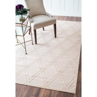 nuLOOM Shadow Lattice Faux Silk Cream Rug (5'1 x 8)