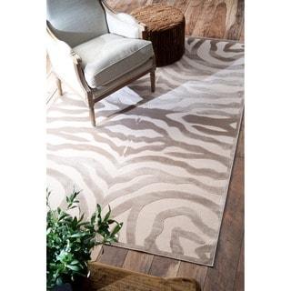 nuLOOM Modern Zebra Faux Silk Brown Rug (5'1 x 8')