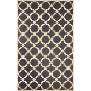 nuLOOM Modern Trellis Dark Gray Faux Silk Area Rug (9' x 12'7)