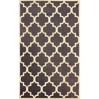 nuLOOM Modern Trellis Dark Grey Faux Silk Rug (9' x 12'7)