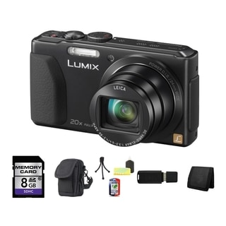 Panasonic Lumix DMC-ZS30 Wi-Fi 18.1MP Black Digital Camera 8GB Bundle
